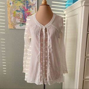 Free People Open Back Button Down Lace Front Top